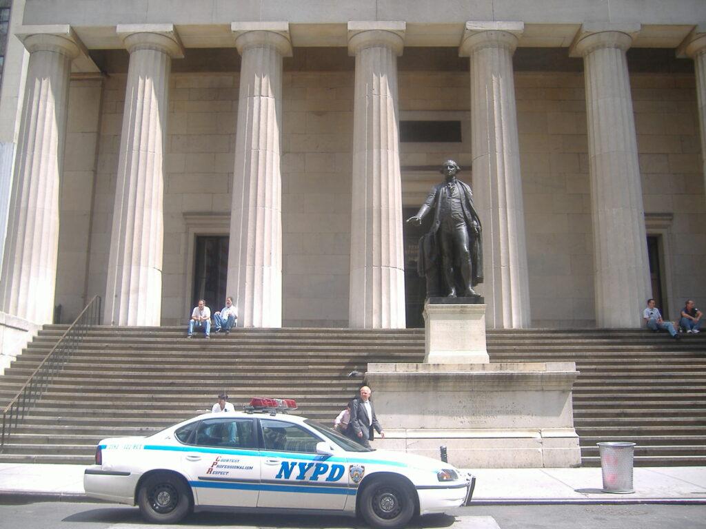Nowy Jork w USA. Pomnik Jerzego Waszyngtona.